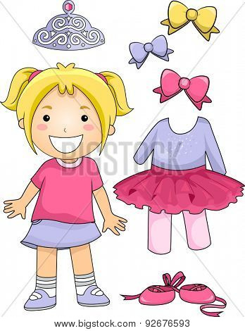Illustration of a Little Ballet Dancer Standing Beside Different Ballet Elements