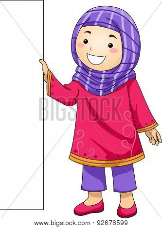 Illustration of a Little Muslim Girl Holding a Blank Board