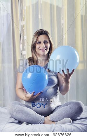 Happy Future Mommy Celebrate With Balloons Her Unborn Baby Boy