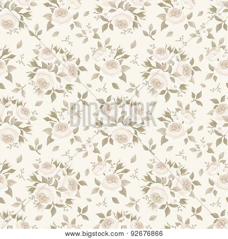 Seamless beige pattern with roses. Vector illustration.