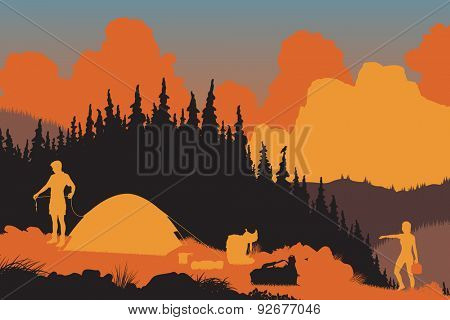 EPS8 editable vector illustration of a couple setting up camp in a wilderness area at dusk