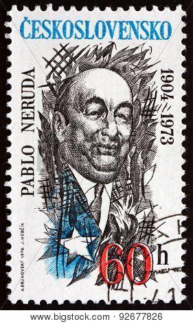 Postage Stamp Czechoslovakia 1974 Pablo Neruda, Chilean Poet