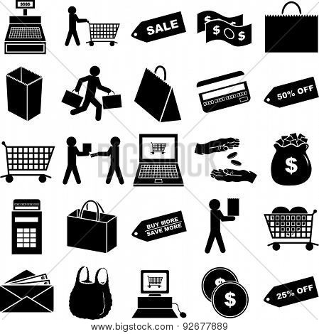 shopping symbols set