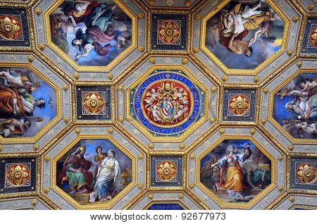 Gallery Ceiling Portion In Vatican Museums