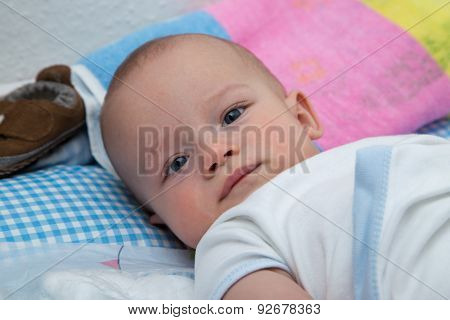 Newborn Boy On The Changing Table.