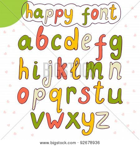 Hand Drawn Alphabet. Vector Happy Font
