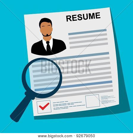 Resume, magnifying, glass, vector, flat style for web