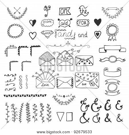 Handsketched Vector Design Elements. Hand Drawn Ampersands, Catchwords And Wedding Romantic Decor El