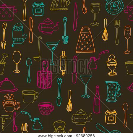 Kitchen Tools. Kitchen Seamless Background
