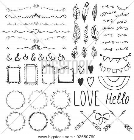 Set Of Romantic Decor Elements. Hand Drawing Style, Sketchy Vintage Vector. Weddings, Valentines Day