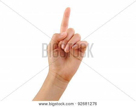 Girl hand showing one finger isolated on a white background. Number one