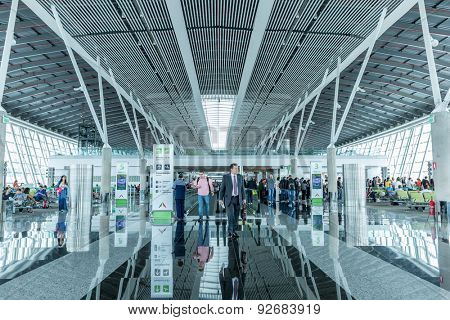 SAO PAULO, BRAZIL - CIRCA MARCH 2015: Passengers at Brasilia Airport in Brasilia, Brazil.