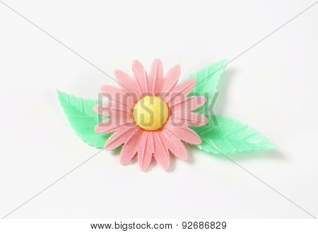 sugar flower - eatable cake decoration on white background