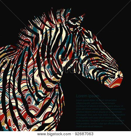 Animal watercolor illustration silhouette zebra. Vector