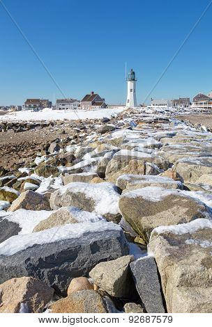 Scituate Lighthouse In South Shore Of Boston