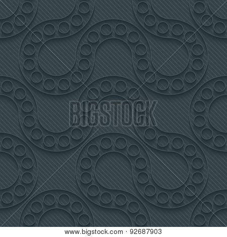 Flowing dark perforated paper with outline extrude effect. 3d seamless background. See others in My Perforated Paper Sets.