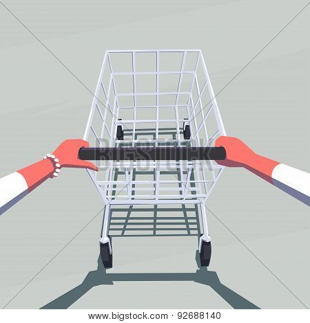 Female hands pushing empty shopping cart. Retro style illustration. Personal point of view.