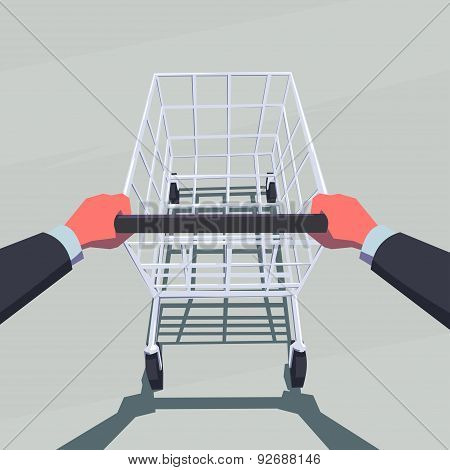 Male hands pushing empty shopping cart. Retro style illustration. Personal point of view.