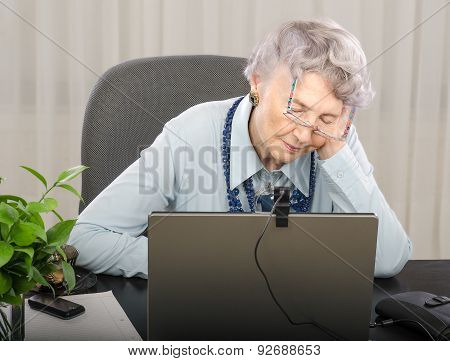 Aged Teacher Is Falling Asleep