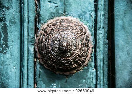 Copper Decoration On The Old Door In Cuzco, Peru.