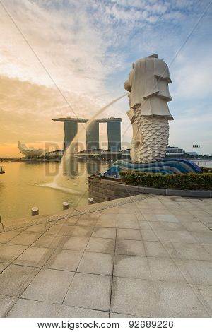 Merlion skyline early morning on May 24 2015 in Singapore. Merlion is a mythical creature with the h