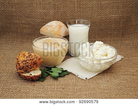Fresh Dairy Products: Milk, Cottage Cheese And Varenets.