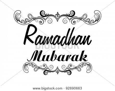 Stylish text Ramadhan Mubarak with beautiful floral design for islamic holy month of prayer celebration on white background.