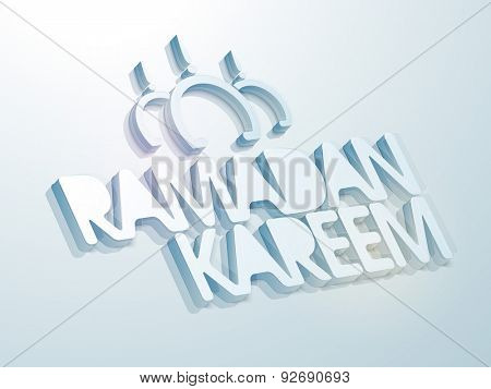 Creative greeting card design decorated with glossy 3D text Ramadan Kareem on sky blue background for Muslim community festival celebration.