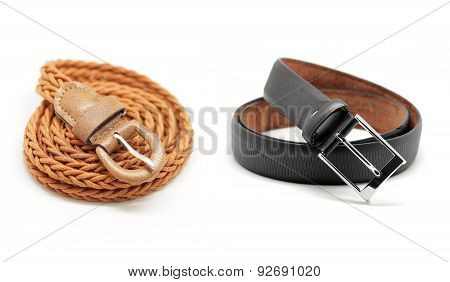 Leather Women And Man Belt On White Background