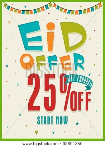 Colorful text Eid Offer with 25% off on stars and buntings decorated background, can be used as poster, banner or flyer design.