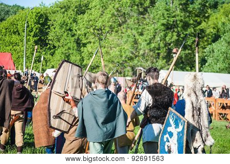 Historical reenactment of Boudica's rebellion