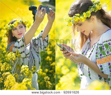 Woman wearing Romanian traditional blouse taking a selfie with a camera and checking her smart phone