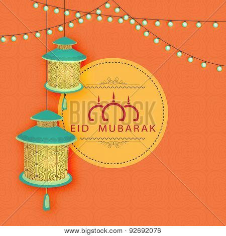 Beautiful floral design decorated hanging traditional lanterns with rope light decoration on seamless orange background for Muslim community festival, Eid Mubarak celebration.