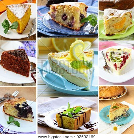 collage menu bakery - pieces various pies