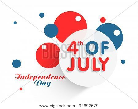 Sticker, tag or label on abstract national flag color background for 4th of July, American Independence Day celebration.