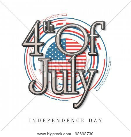 Stylish text 4th of July on national flag color stitching pattern for American Independence Day celebration.