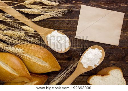 Bakery Products Flour In A Wooden Spoon
