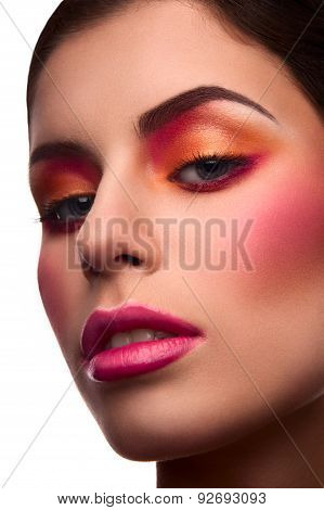 Close-up Beauty Portrait Of Model With Blush And Pink Lips