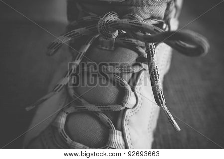 Hiking Boots In Black And White