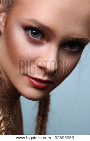 Beauty Female Model With Pigtails