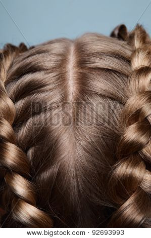 Close-up Blonde Head With Pigtails