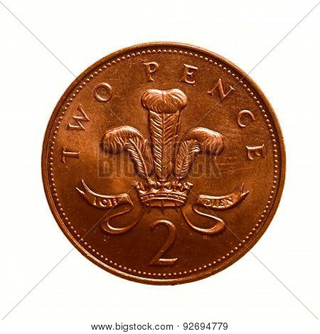 Retro Look Two Pence Coin