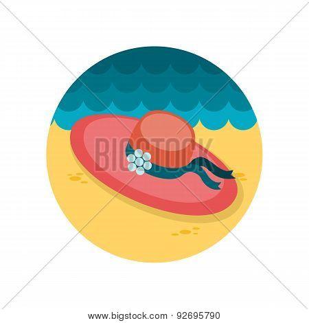 Beach hat flat icon
