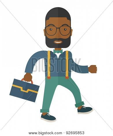 A Young businessman walking to attend a business meeting carrying a briefcase. A Contemporary style. Vector flat design illustration isolated white background. Square layout