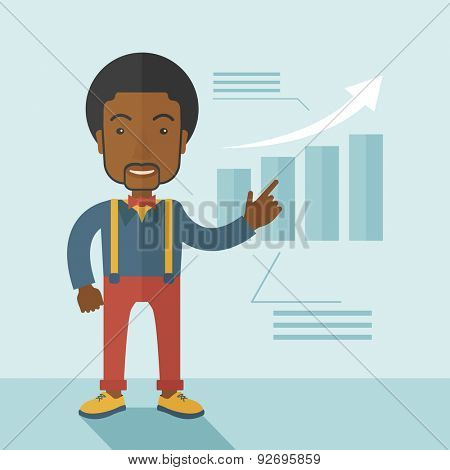 A black guy businessman viewing the company sales that grows. Business growth concept. A contemporary style with pastel palette soft blue tinted background. Vector flat design illustration. Square