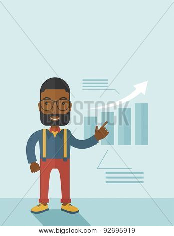 A black guy businessman viewing the company sales that grows. Business growth concept. A contemporary style with pastel palette soft blue tinted background. Vector flat design illustration. Vertical