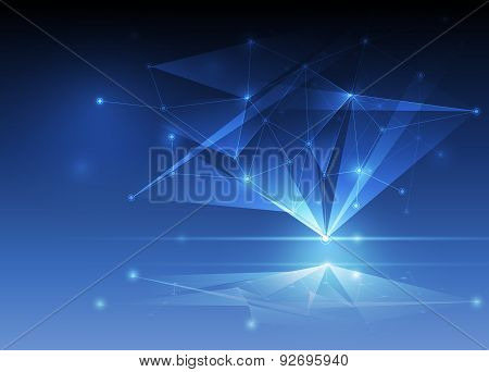 Abstract Futuristic - Molecules Technology With  Polygon Background