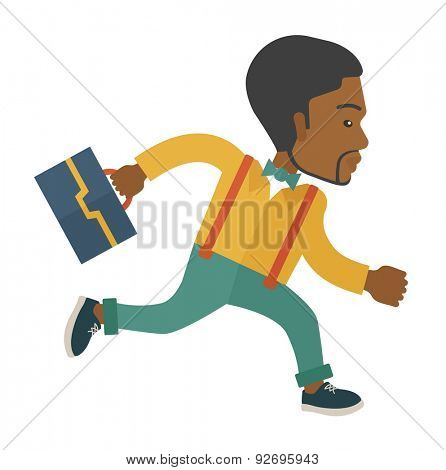 A worker with briefcase is late to Work. A contemporary style with pastel palette soft blue tinted background. Vector flat design illustration. Square layout.