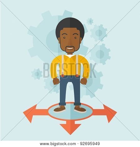 A black guy businessman standing on three ways arrows for selection. Business concept. A contemporary style with pastel palette soft blue tinted background. Vector flat design illustration. Square