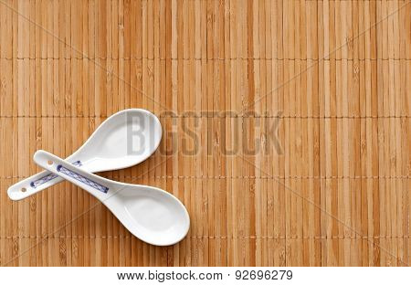 Chinese spoons on the straw mat